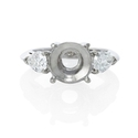Diamond Pear Shape Platinum Three Stone Engagement Ring Setting