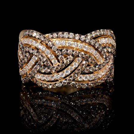 Diamond and Black Rhodium 18k Rose Gold Ring