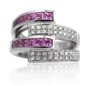Garavelli Diamond & Pink Tourmaline 18k White Gold Ring
