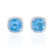 .10ct Diamond and Blue Topaz 14k White Gold Earrings