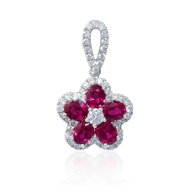 41ct diamond and ruby 18k white gold flower pendant 41ct diamond and ruby 18k white gold flower pendant mozeypictures Image collections