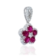 .41ct Diamond and Ruby 18k White Gold Flower Pendant