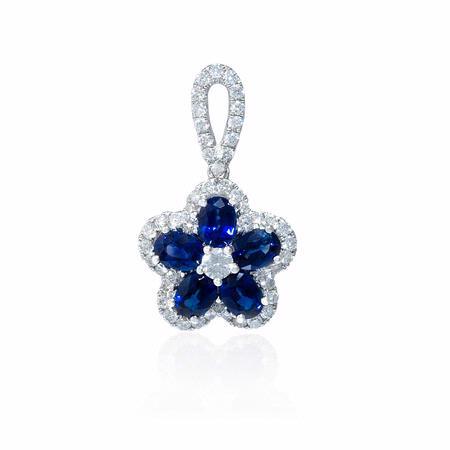 Diamond and Blue Sapphire 18k White Gold Flower Pendant