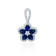 .43ct Diamond and Blue Sapphire 18k White Gold Flower Pendant