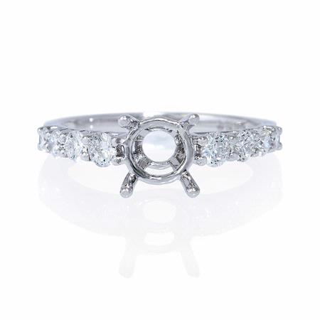 Graduated Diamond 18k White Gold U Prong Engagement Ring Setting
