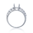 .60ct Graduated Diamond 18k White Gold U Prong Engagement Ring Setting