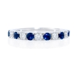 .30ct Diamond and Blue Sapphire Antique Style 18k White Gold Ring