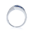 .67ct Diamond and Blue Sapphire 18k White Gold Swirl Crossover Ring