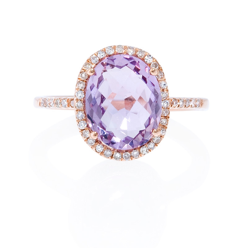15ct diamond and pink amethyst 14k rose gold ring