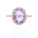 Diamond and Pink Amethyst 14k Rose Gold Ring
