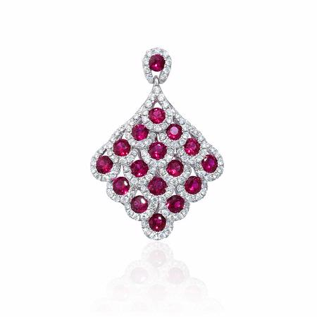 Diamond and Ruby 18k White Gold Pendant