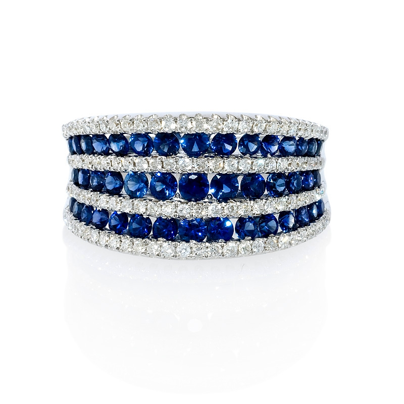 49ct diamond and blue sapphire multi row 18k white gold ring. Black Bedroom Furniture Sets. Home Design Ideas