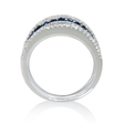 .49ct Diamond and Blue Sapphire Multi Row 18k White Gold Ring