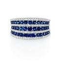 Diamond and Blue Sapphire Multi Row 18k White Gold Ring