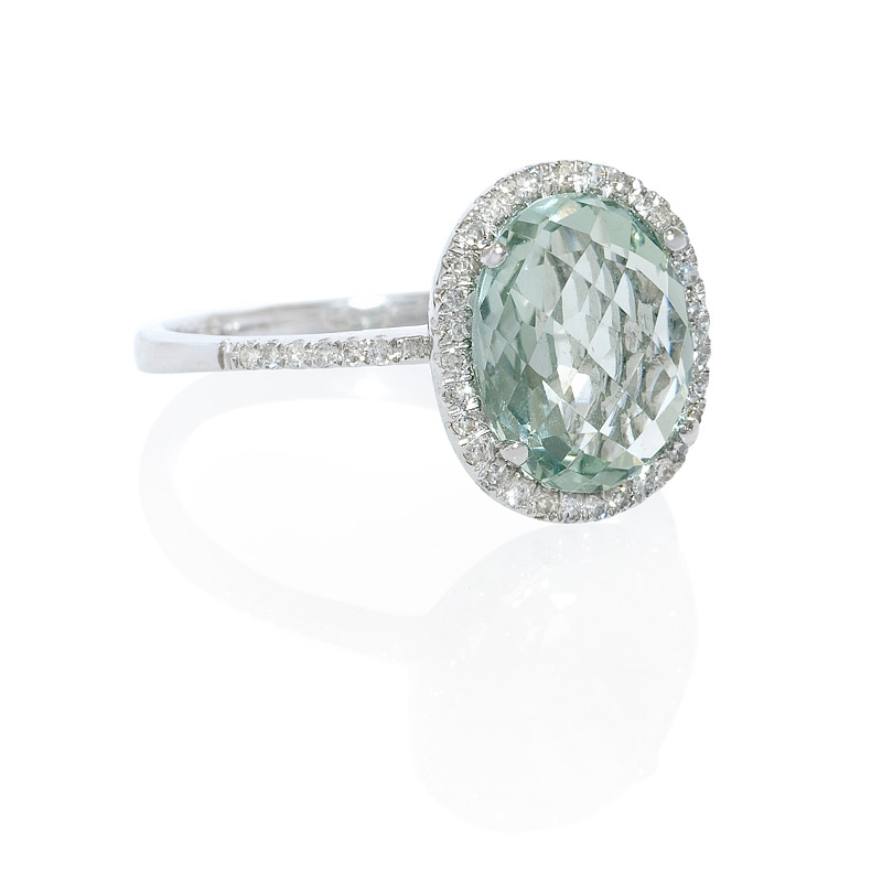 17ct and green amethyst 14k white gold ring