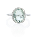 Diamond and Green Amethyst 14k White Gold Ring