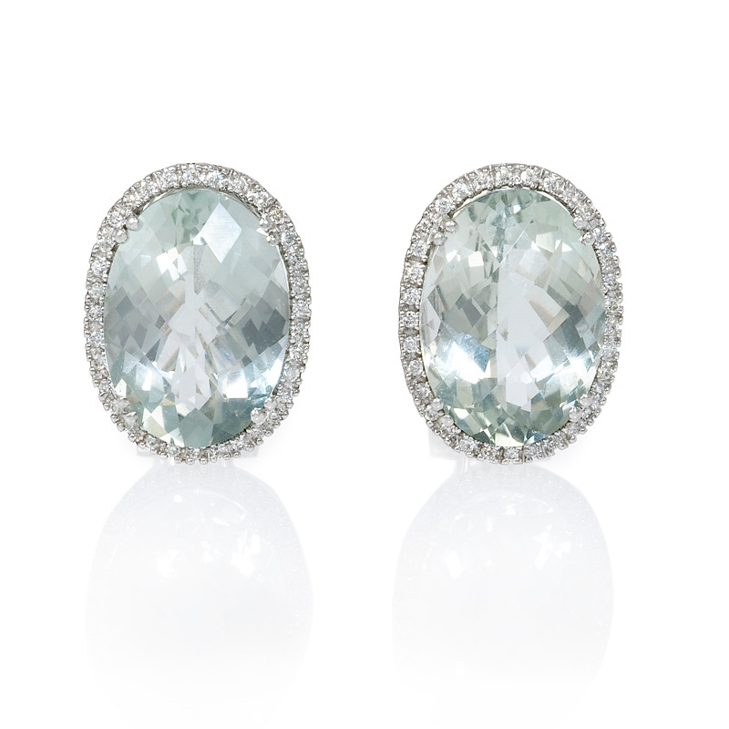 21ct Diamond And Green Amethyst 14k White Gold Earrings