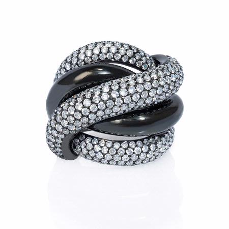 Diamond and Black Rhodium 18k White Gold Ring