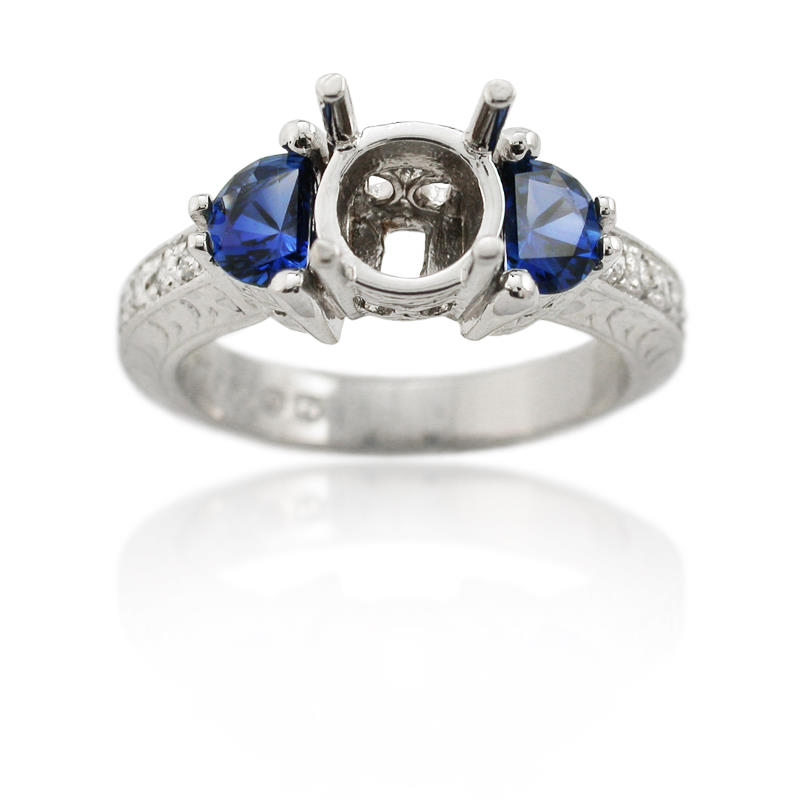 20ct and blue sapphire antique style platinum