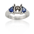 .20ct Diamond and Blue Sapphire Antique Style Platinum Engagement Ring Mounting