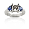 Diamond and Blue Sapphire Antique Style Platinum Engagement Ring Mounting