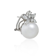 1.61ct Diamond and Pearl 18k White Gold Earrings