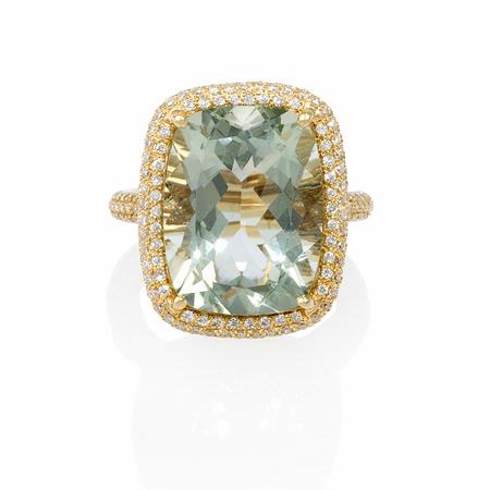 Diamond and Green Amethyst 14k Yellow Gold Ring