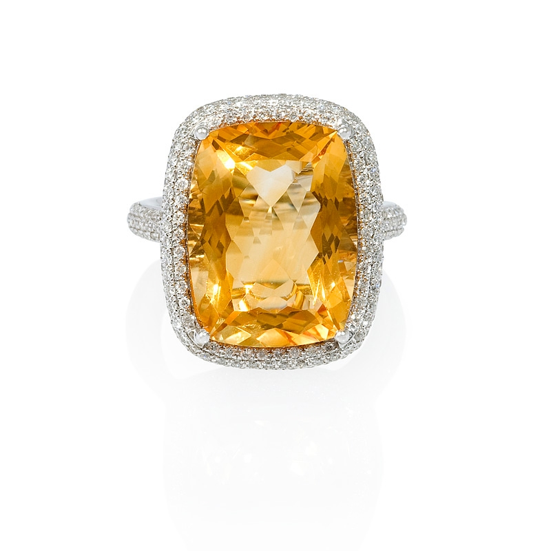 70ct and citrine 14k white gold ring