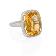 .70ct Diamond and Citrine 14k White Gold Ring