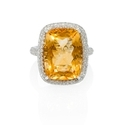 Diamond and Citrine 14k White Gold Ring