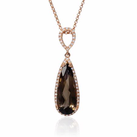 Diamond and Smokey Topaz 14k Rose Gold Pendant Necklace