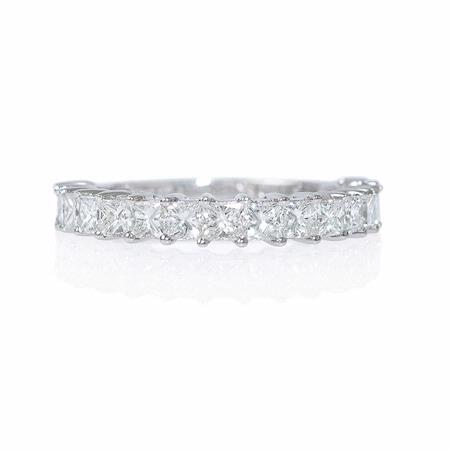 Diamond 1.54 Carats 18k White Gold Princess Cut Wedding Band Ring