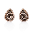 2.72ct Diamond and Black Rhodium 18k Rose Gold Cluster Earrings