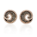 Diamond and Black Rhodium 18k Rose Gold Earrings