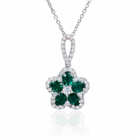 .44ct Diamond and Emerald 18k White Gold Flower Pendant