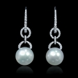 .41ct Diamond and South Sea Pearl 18k White Gold Dangle Earrings