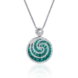 .32ct Diamond and Emerald 18k White Gold Pendant