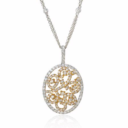 Diamond 14k Two Tone Gold Pendant