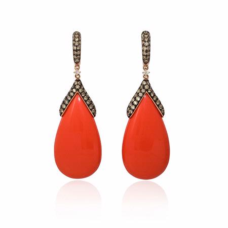Diamond and Coral 14k Rose Gold Dangle Earrings