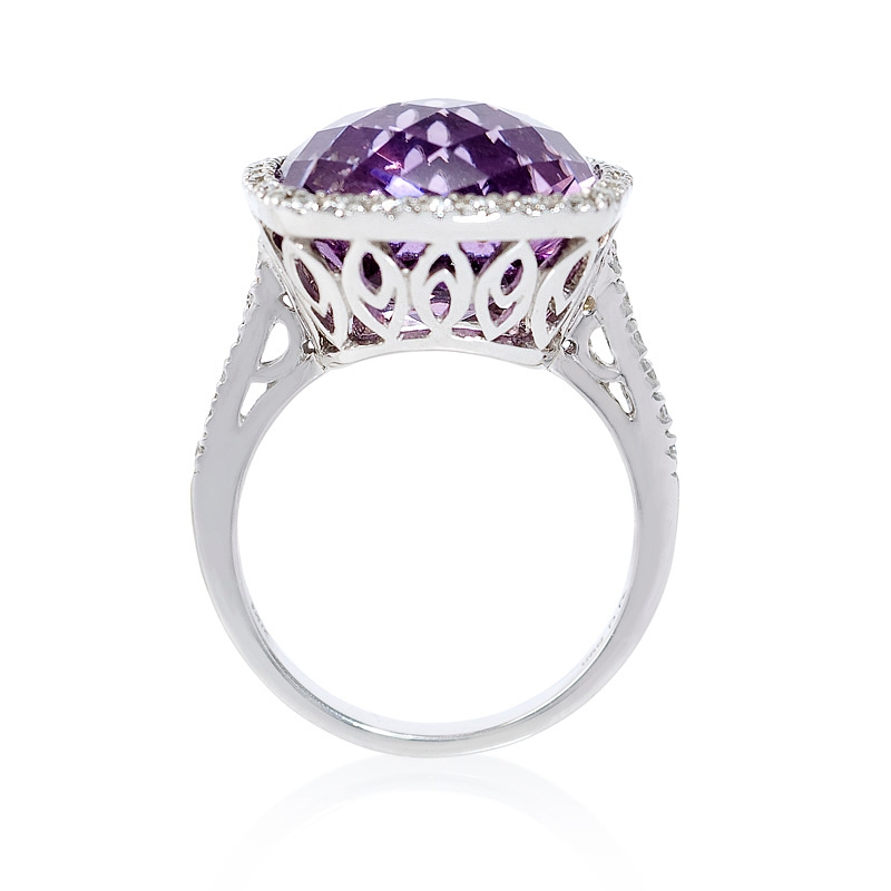 40ct and purple amethyst 14k white gold ring