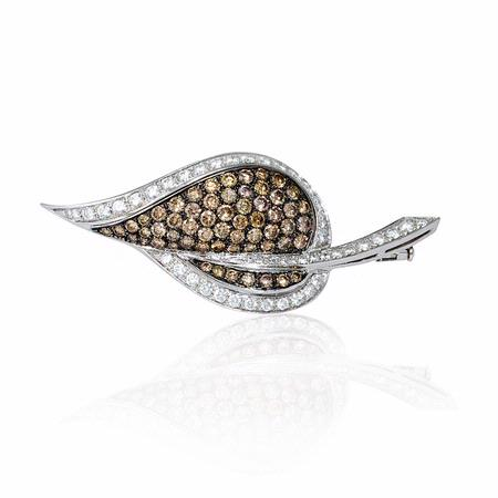 Leo Pizzo Diamond and Black Rhodium 18k White Gold Leaf Brooch Pin