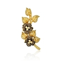 Leo Pizzo Diamond 18k Yellow Gold and Black Rhodium Floral Brooch Pin