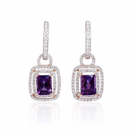 Diamond and Purple Amethyst 18k Two Tone Gold Dangle Earrings