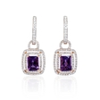 .95ct Diamond and Purple Amethyst 18k Two Tone Gold Dangle Earrings