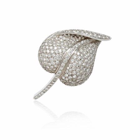 Garavelli Diamond 18k White Gold Brooch Pin