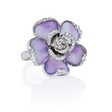 .44ct Diamond and Purple Amethyst 18k White Gold Flower Ring