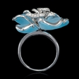 .45ct Diamond and Blue Topaz 18k White Gold Flower Ring
