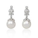 Diamond and South Sea Pearl Antique Style 18k White Gold Dangle Earrings