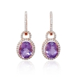 .58ct Diamond and Purple Amethyst 18k Rose Gold Dangle Earrings