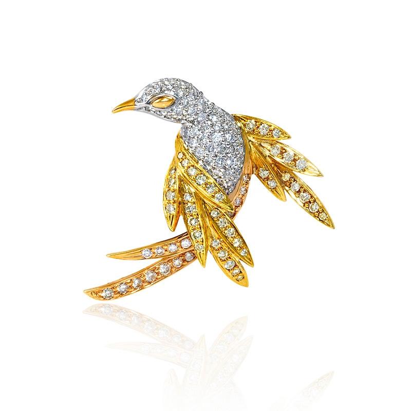 3 01ct diamond 14k three tone gold bird brooch pin
